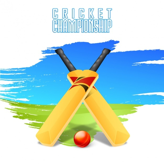Green And Blue Cricket Background With Wickets Vector