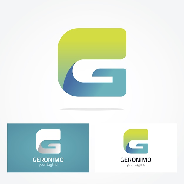 green and blue letter g logo design vector free download