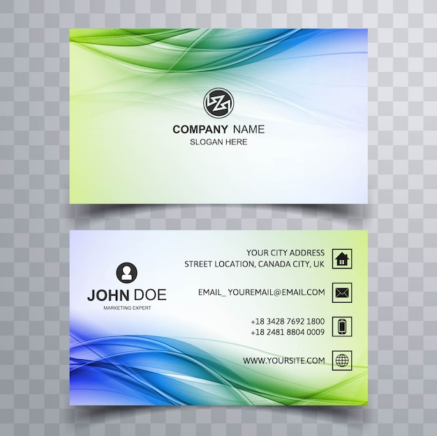 Green and blue wavy business card Free Vector