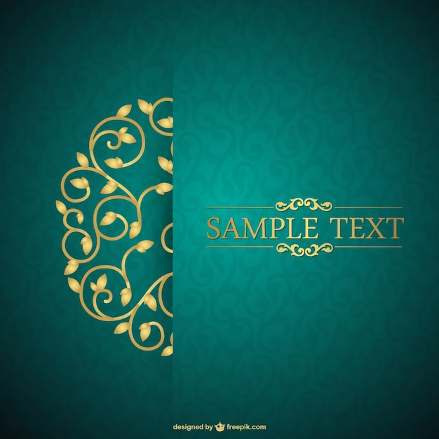 Green and floral vintage card Vector Free Download