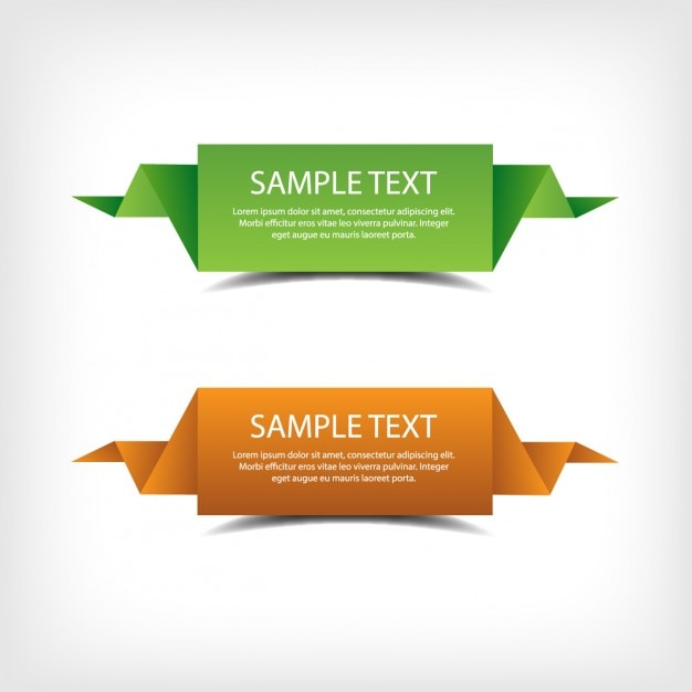Green and orange origami banners Free Vector