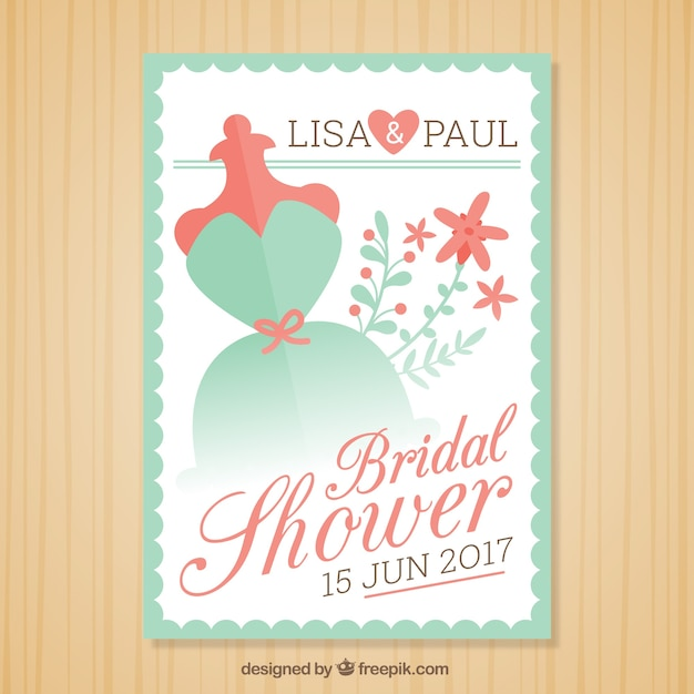 Green and red bridal shower invitation template Vector – Wedding Shower Invitation Template Free