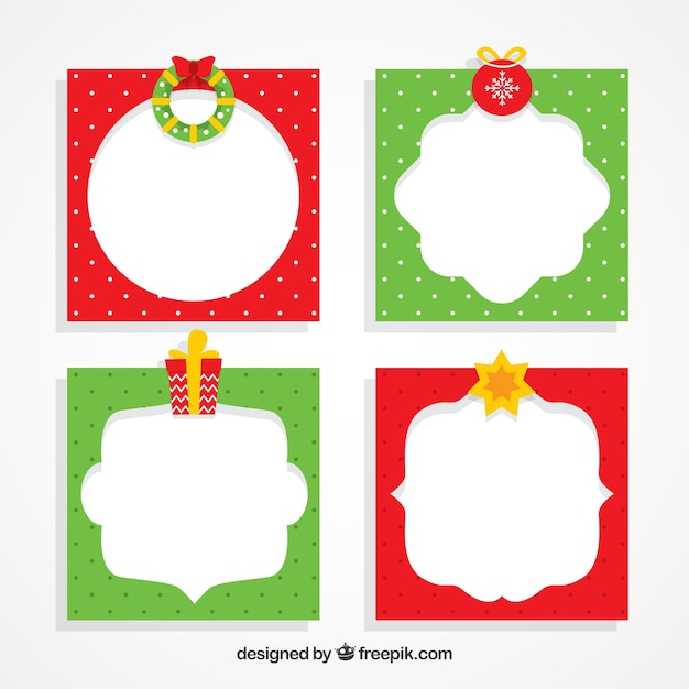Green and red christmas frames Vector | Free Download
