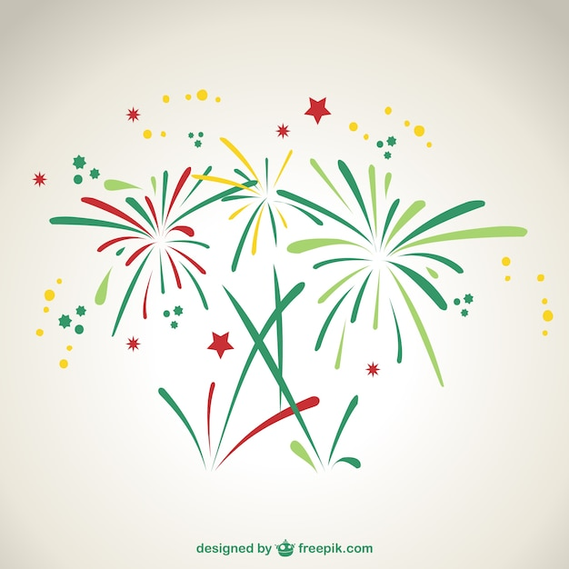 Green and red fireworks Free Vector