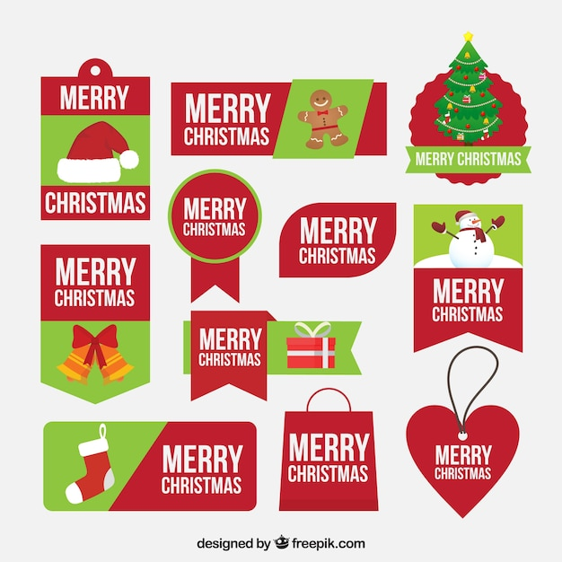 Green and red merry christmas labels Vector | Free Download