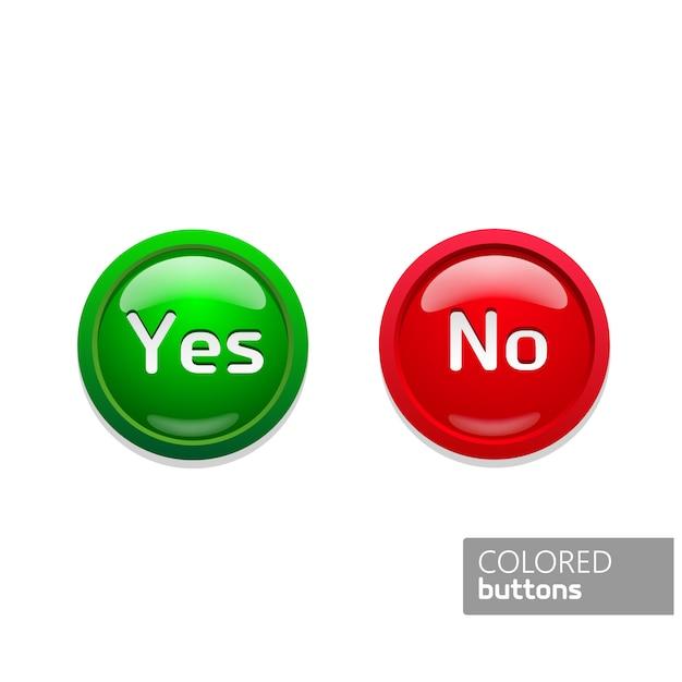 緑と赤の丸いボタンアイコンの色はい、いいえ。黒の背景にガラスボタン Premiumベクター