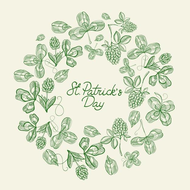 성에 대한 텍스트 주위에 많은 전통적인 요소와 녹색과 흰색 원 프레임 스케치 구성 카드. 패트릭의 날 무료 벡터