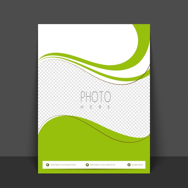 Green And White Colors Flyer, Template Or Banner Design With Space