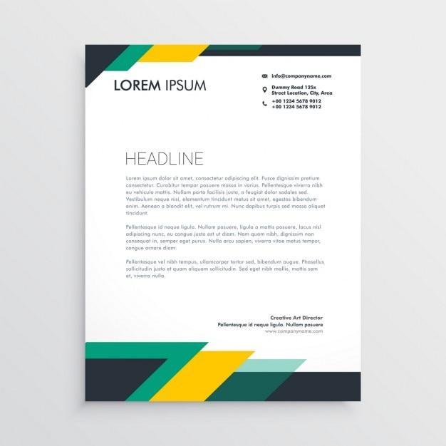 Green and yellow brochure Free Vector
