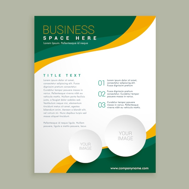 Green and yellow leaflet with wavy shapes Free Vector