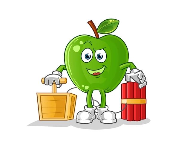 Зеленое яблоко с персонажем-детонатором динамита Premium векторы