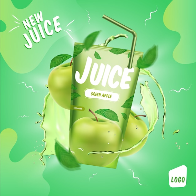 Объявление о напитке из зеленого яблочного сока Бесплатные векторы