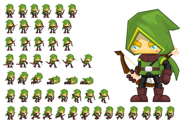 Green archer game character Premium Vector