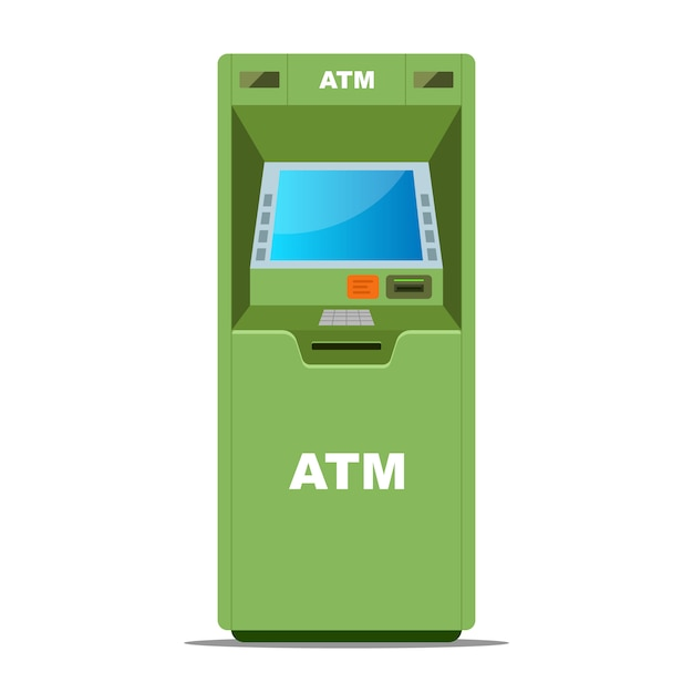Green atm for withdrawing money Premium Vector