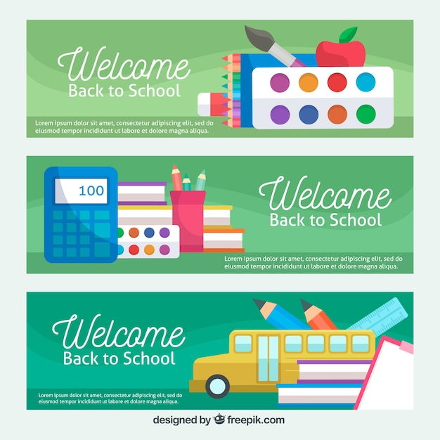 Green back to school banners in flat design