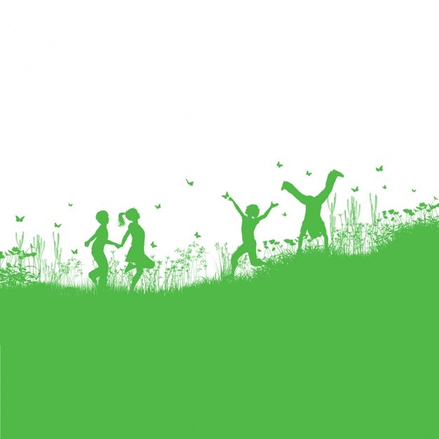 Green background about children playing in the field Free Vector