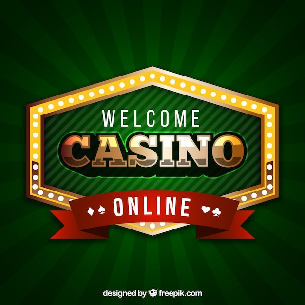 Green background of casino badge Free Vector