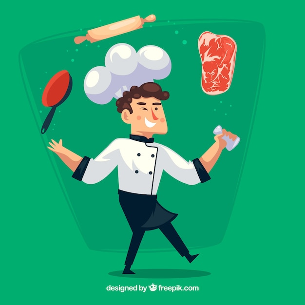 Green background of chef character with objects and ingredients Free Vector