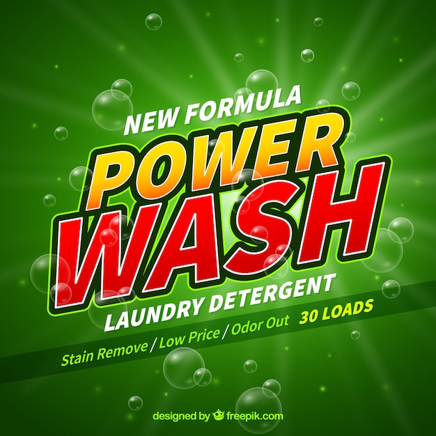 Green background of detergent with new formula Free Vector