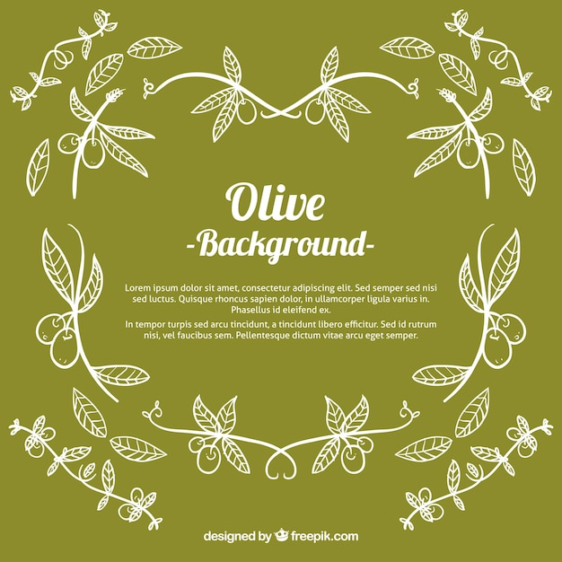 Green background of hand-drawn olives Free Vector
