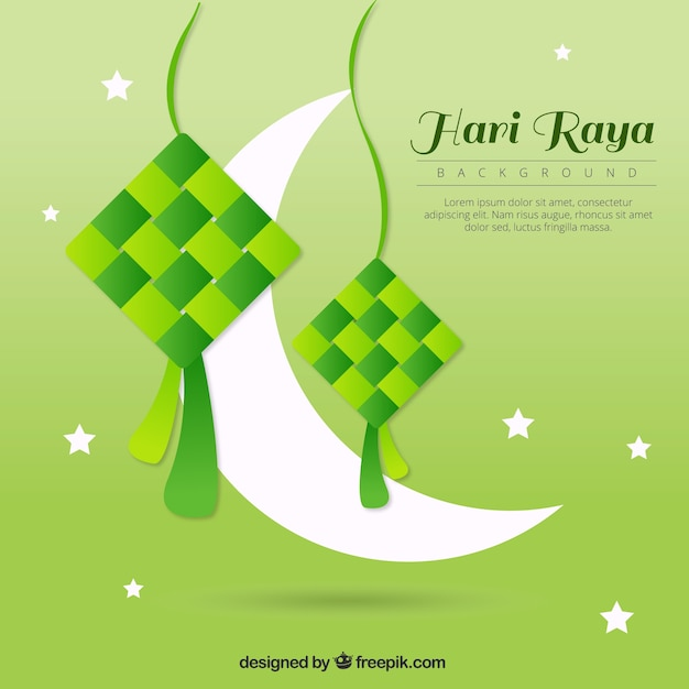 Green Background Of Hari Raya With Moon Vector Free Download