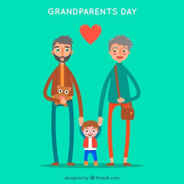 Green background of grandparents with their lovely grandchild