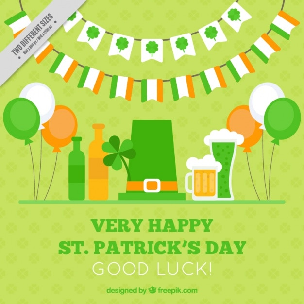 Green background of happy saint patrick's day