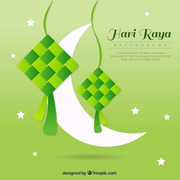 Green Background Of Hari Raya With Moon Vector