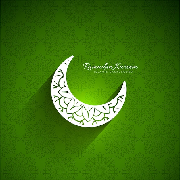 Green Background Of Ramadan Kareem With Moon Free Vector