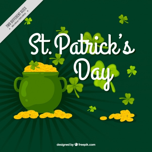 Green background of saint patrick's day cauldron