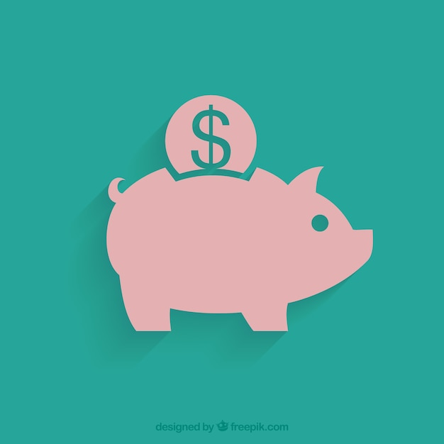 Green background of piggy bank with coin in flat design Free Vector