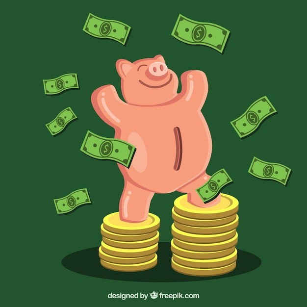 Green background of triumphant piggy bank with bills and coins Free Vector
