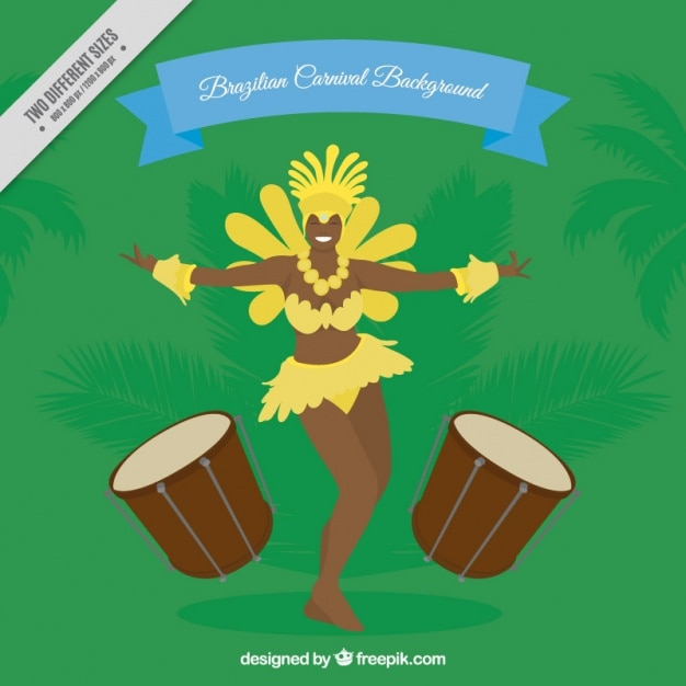 Green background with brazilian dancer and\ drums