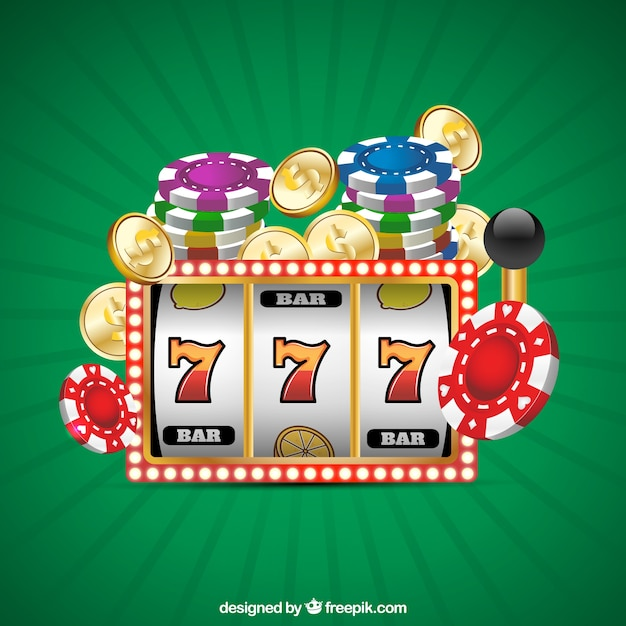 Green background with casino games Free Vector