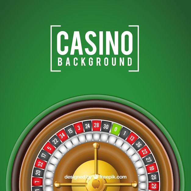 Green background with casino roulette Free Vector