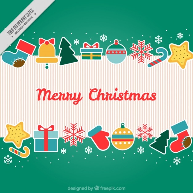Green background with christmas decoration Free Vector