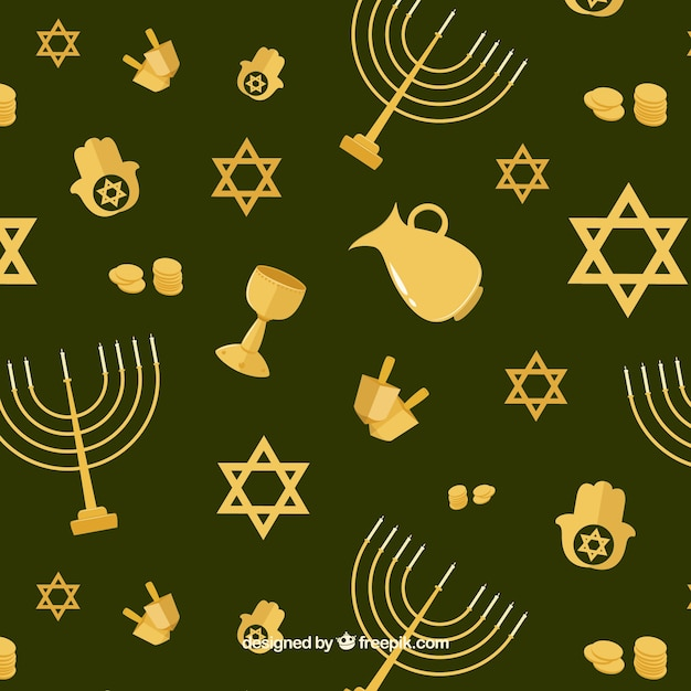 Green background with golden hanukkah objects\ in flat design