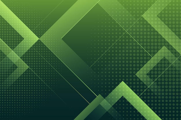 Green background with halftone effect and squares Premium Vector