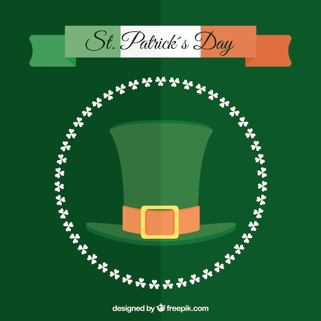 Green background with saint patrick's day hat