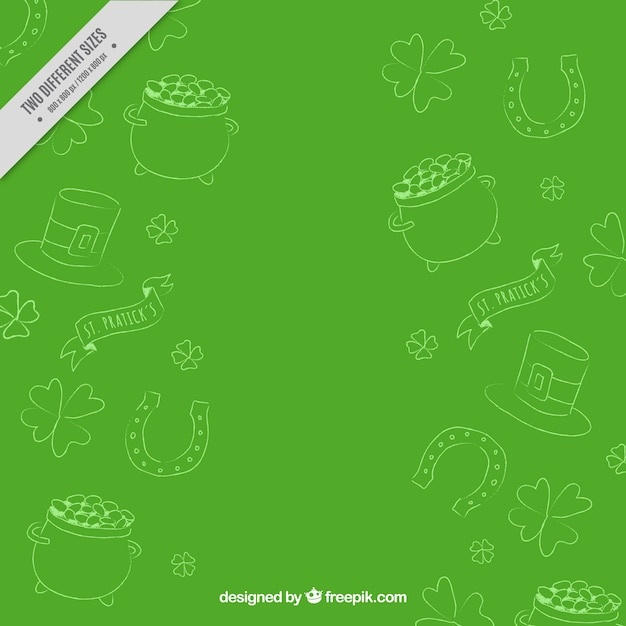 Green background with sketches of saint patrick elements