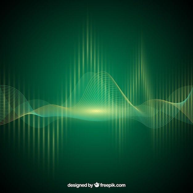 Green background with sound wave Free Vector