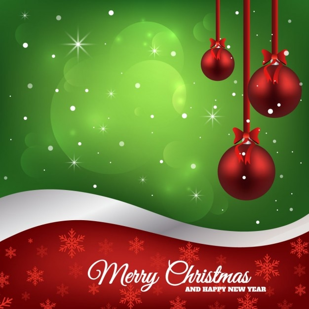 Green background with three red christmas balls Free Vector