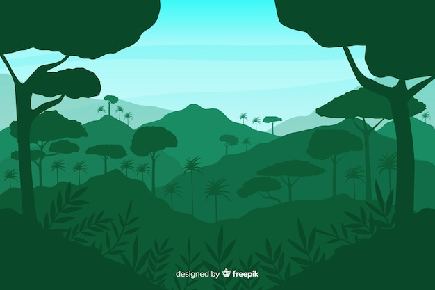 Green background with tropical forest silhouettes Free Vector