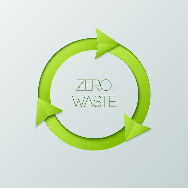 Green badge of zero waste on a white background.. Premium Vector