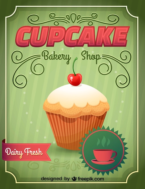 Green bakery shops sign witha  cupcake Free Vector
