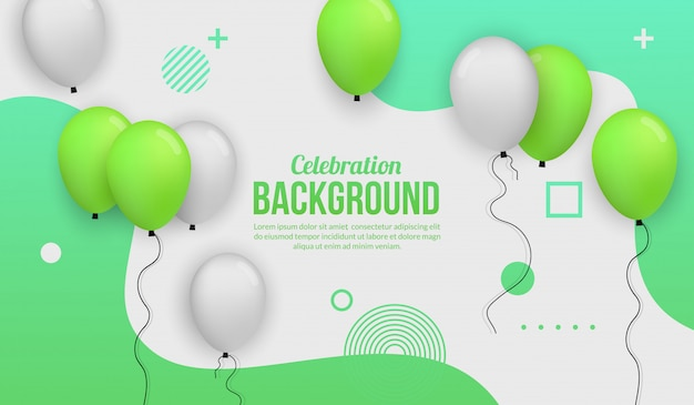 Green ballon celebration background for birhtday party, graduation, celebration event and holiday Premium Vector