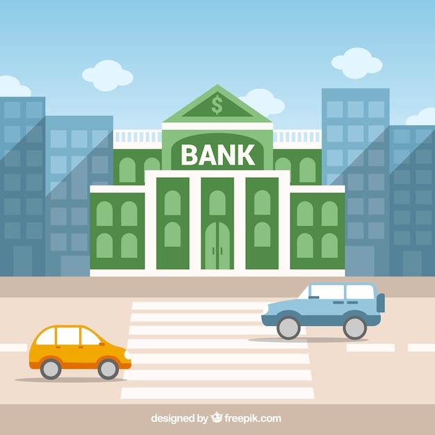 Green bank building Free Vector