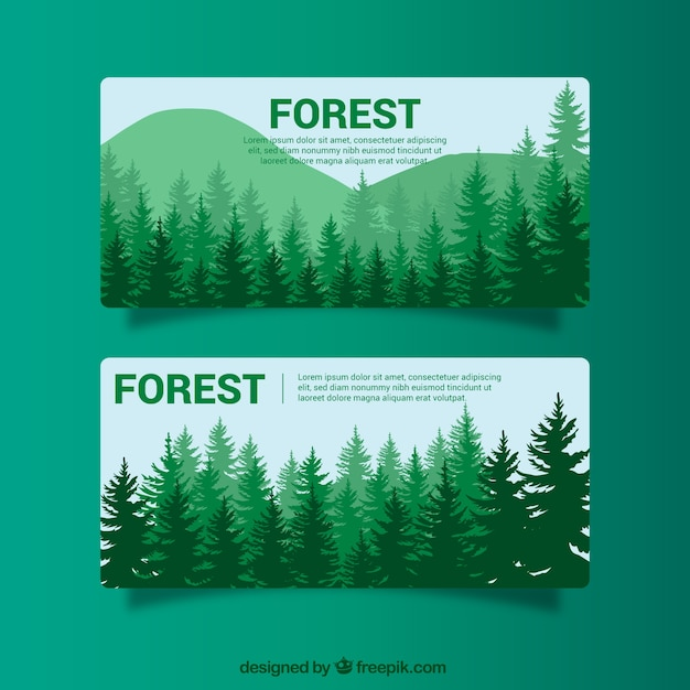 Green banners with trees Free Vector