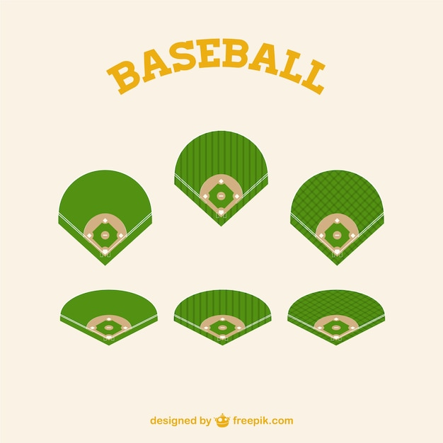 green baseball fields parts vector | free download
