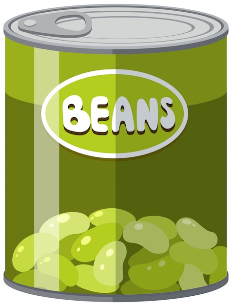 Green beans in aluminum can Free Vector